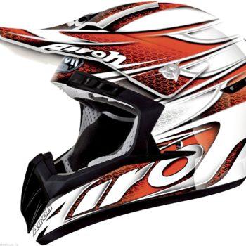 Кроссовый шлем CR901 LINEAR бело-оранжевый фото 1