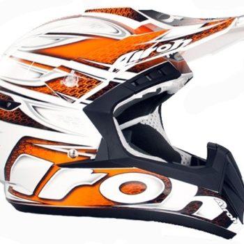Кроссовый шлем CR901 LINEAR бело-оранжевый фото 2