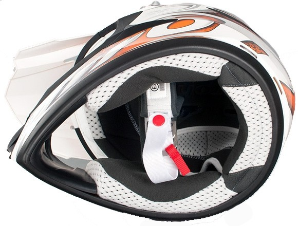 Кроссовый шлем CR901 LINEAR бело-оранжевый фото 3