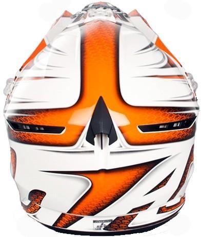 Кроссовый шлем CR901 LINEAR бело-оранжевый фото 4