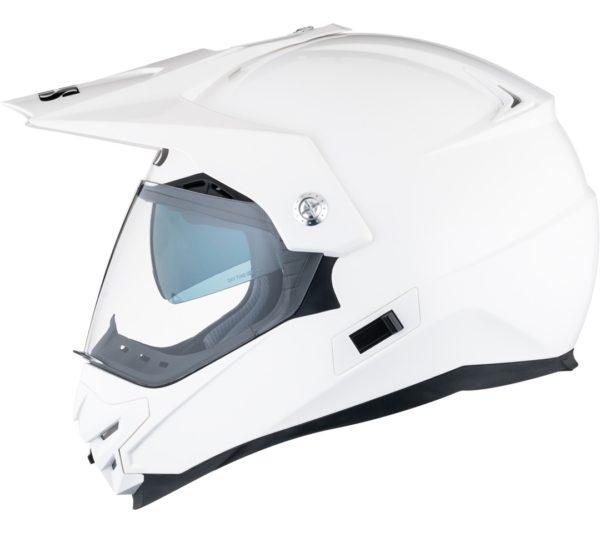 Кроссовый шлем со стеклом  HX207 белый фото 3
