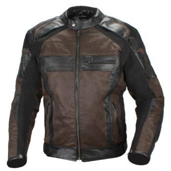 Мотокуртка кожаная Compass черно-коричневая фото 1