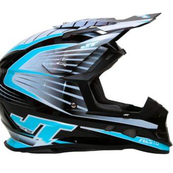 Шлем кроссовый  ALS1.0 черно-голубой фото 2
