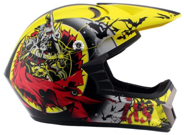 Шлем кроссовый HX276 SWORD красно-желтый фото 3