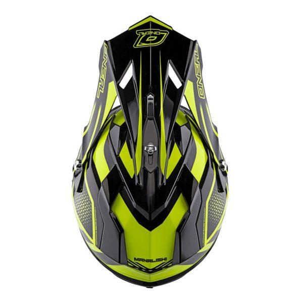 Кроссовый шлем 2Series MANALISHI чёрно-желтый флуоресцентный фото 3
