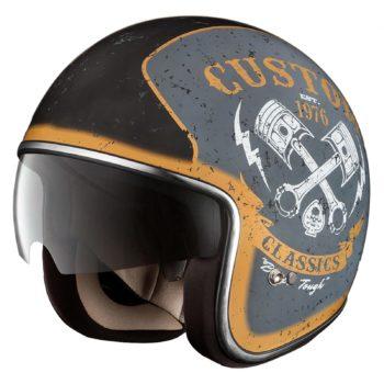 Шлем открытый HX 77 Custom серебро-черный мат фото 1