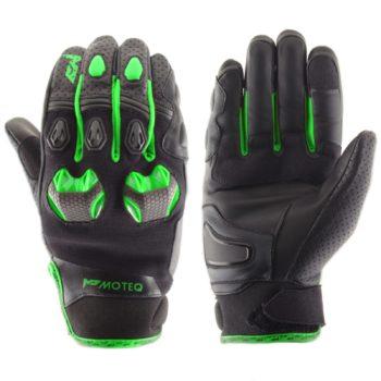 MOTEQ Кожаные перчатки Stinger флуоресцентно-зеленые
